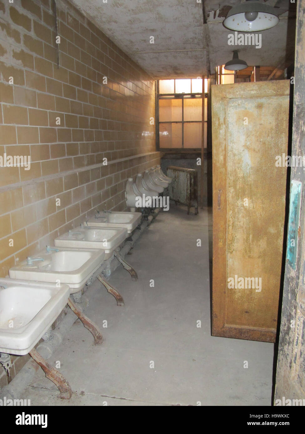 ellis island Bathroom sinks - Stock Image