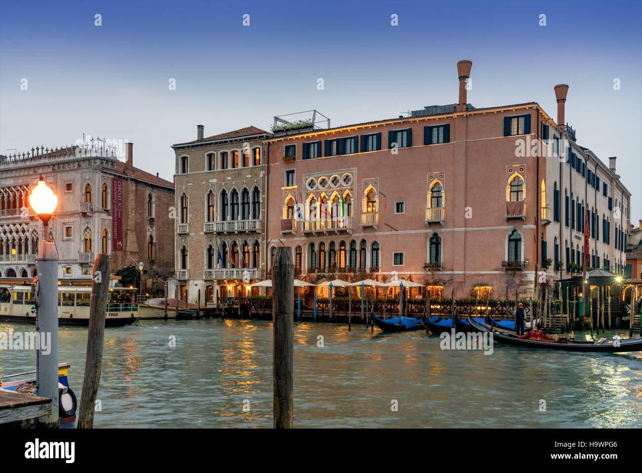 Canal Grande, Palazzo Ca d Oro , Ca Sagredo Hotel , Venedig, Venezia, Venice, Italia, Europe, - Stock Image
