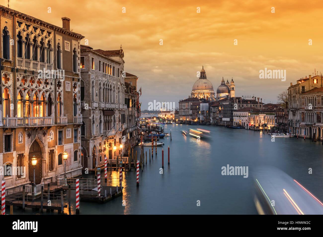 View from Ponte dell  Accademia, Grand Canal, Palazzo Cavalli-Franchetti, Basilica di Santa Maria della Salute,Venedig, - Stock Image