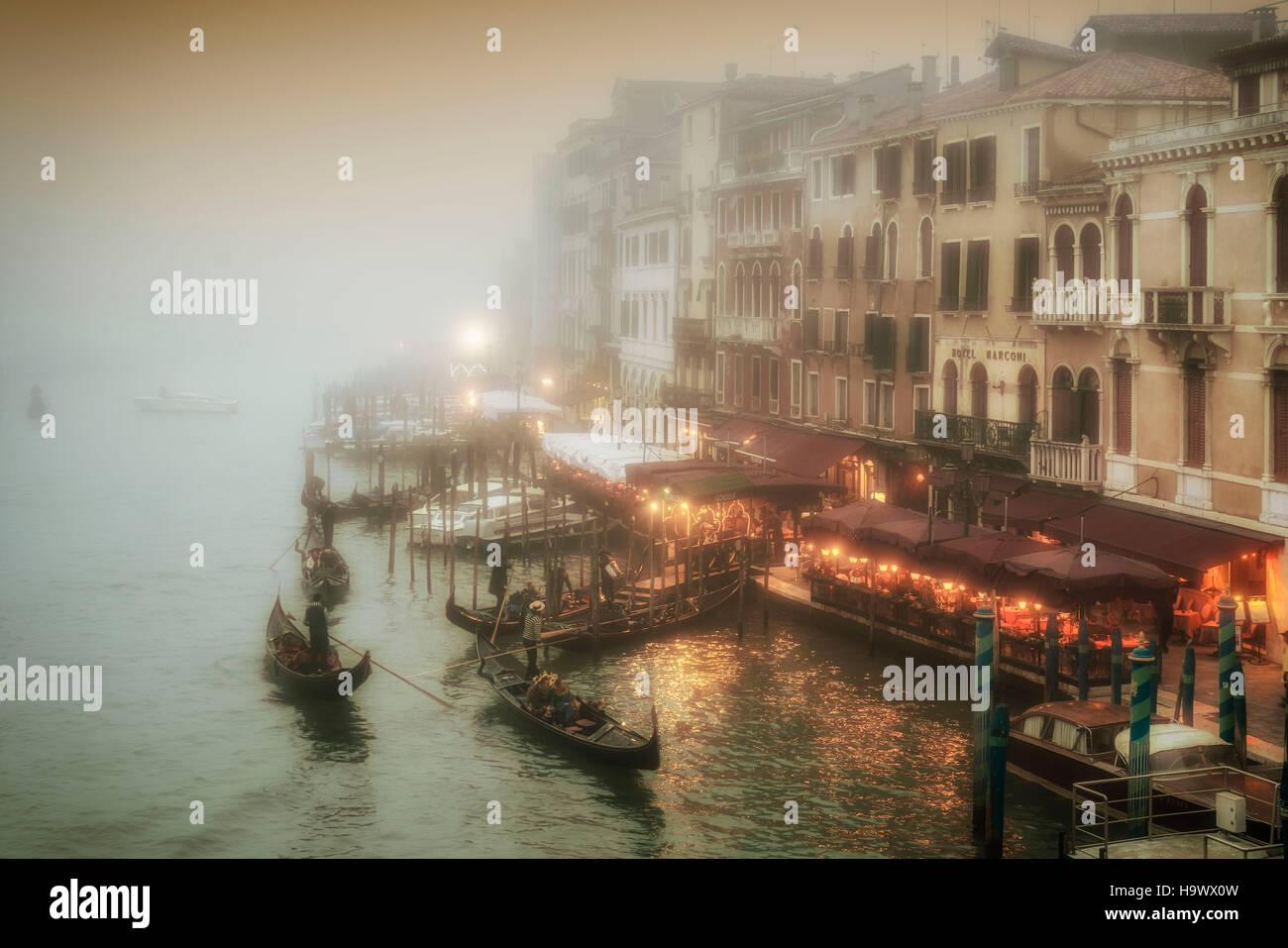 View from Rialto bridge to Canal Garnle at dusk, fog, gondolas ,  Venedig, Venezia, Venice, Italia, Europe, - Stock Image