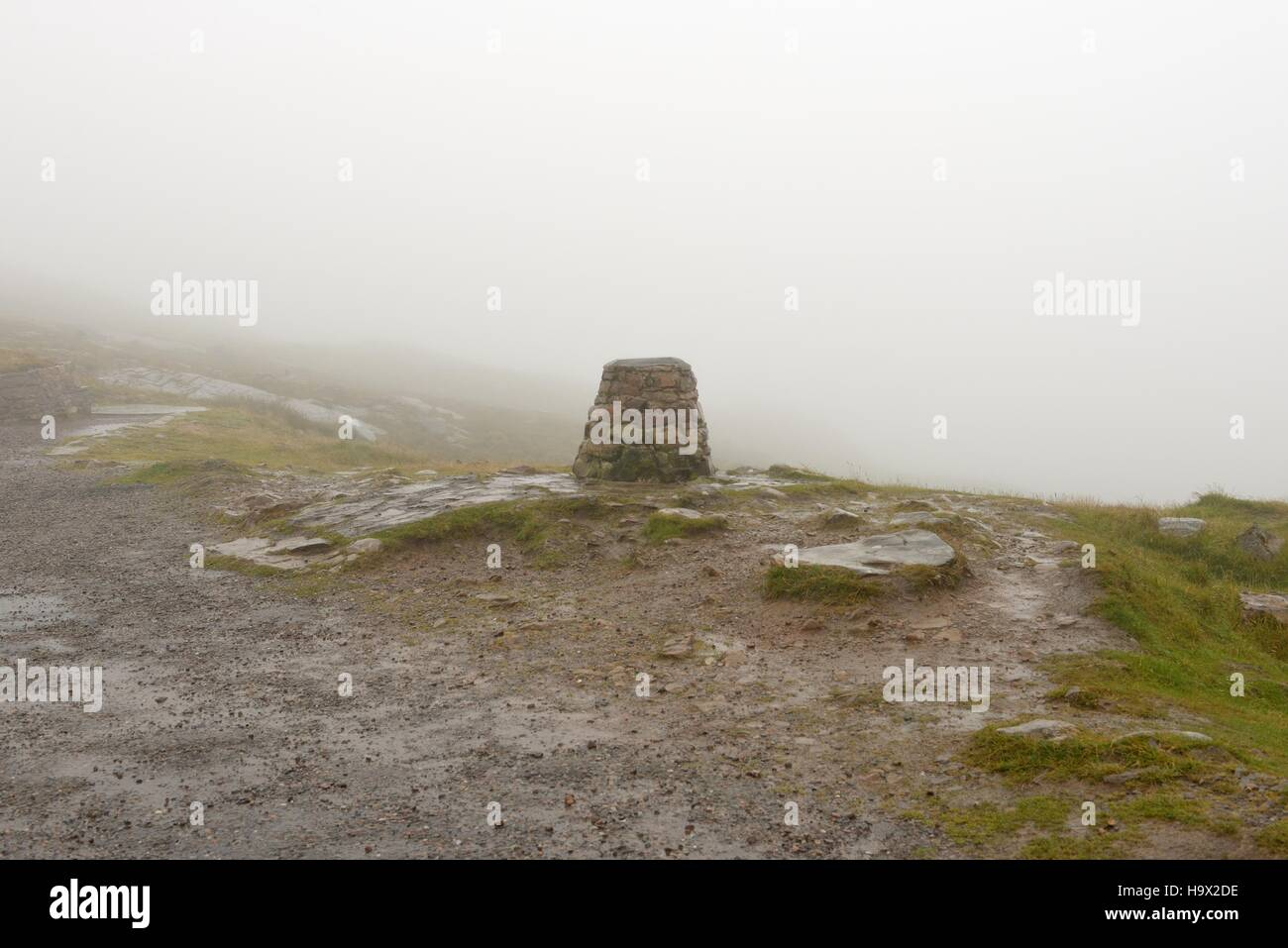 The Bealach na Ba (Pass of the cattle) viewpoint enshrouded in mist on the Applecross peninsula, Highland, Scotland. - Stock Image