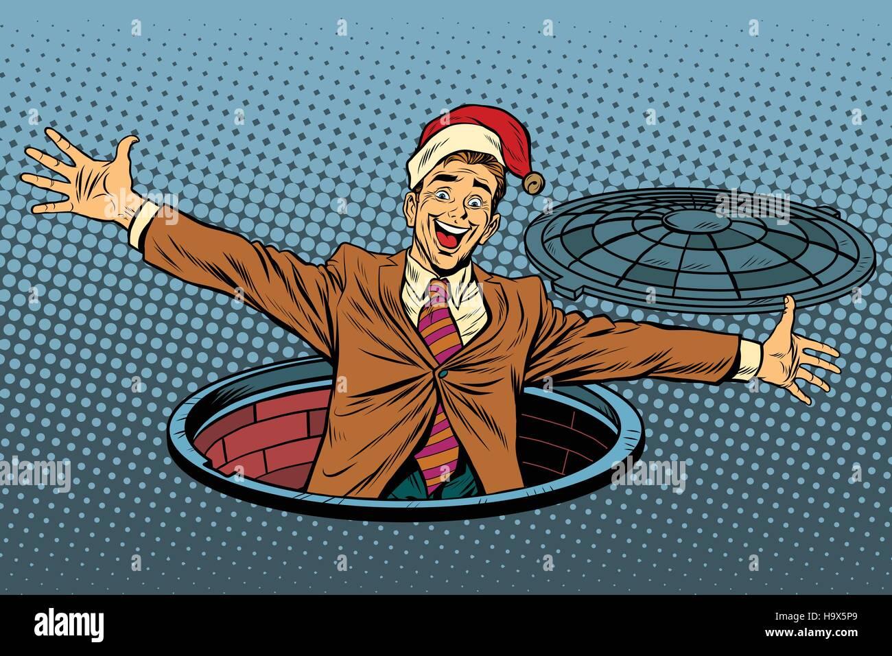 Hello businessman Christmas surprise. Pop art retro vector illustration. Luke city sewer - Stock Vector