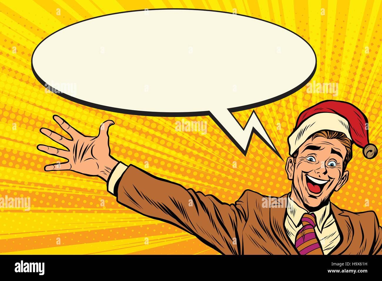 Hello businessman Christmas surprise. Pop art retro vector illustration - Stock Vector