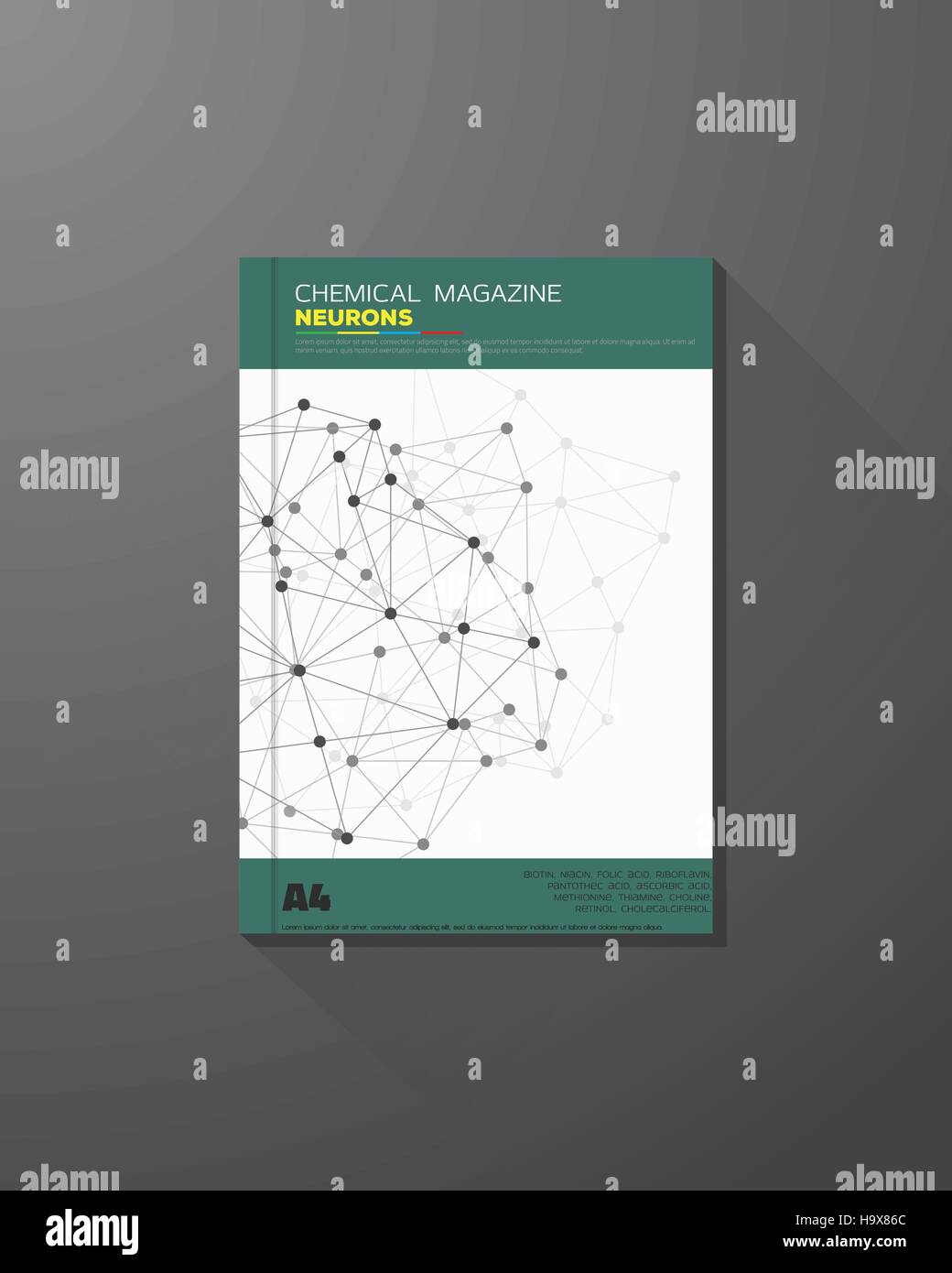 Abstract science and chemical vector brochure design template. Chemical connections, lines and dots. - Stock Image