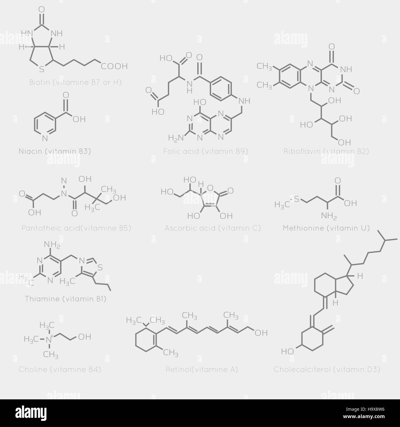 Skeletal formulas of some vitamins. Schematic image of chemical organic molecules, nutrients. - Stock Vector