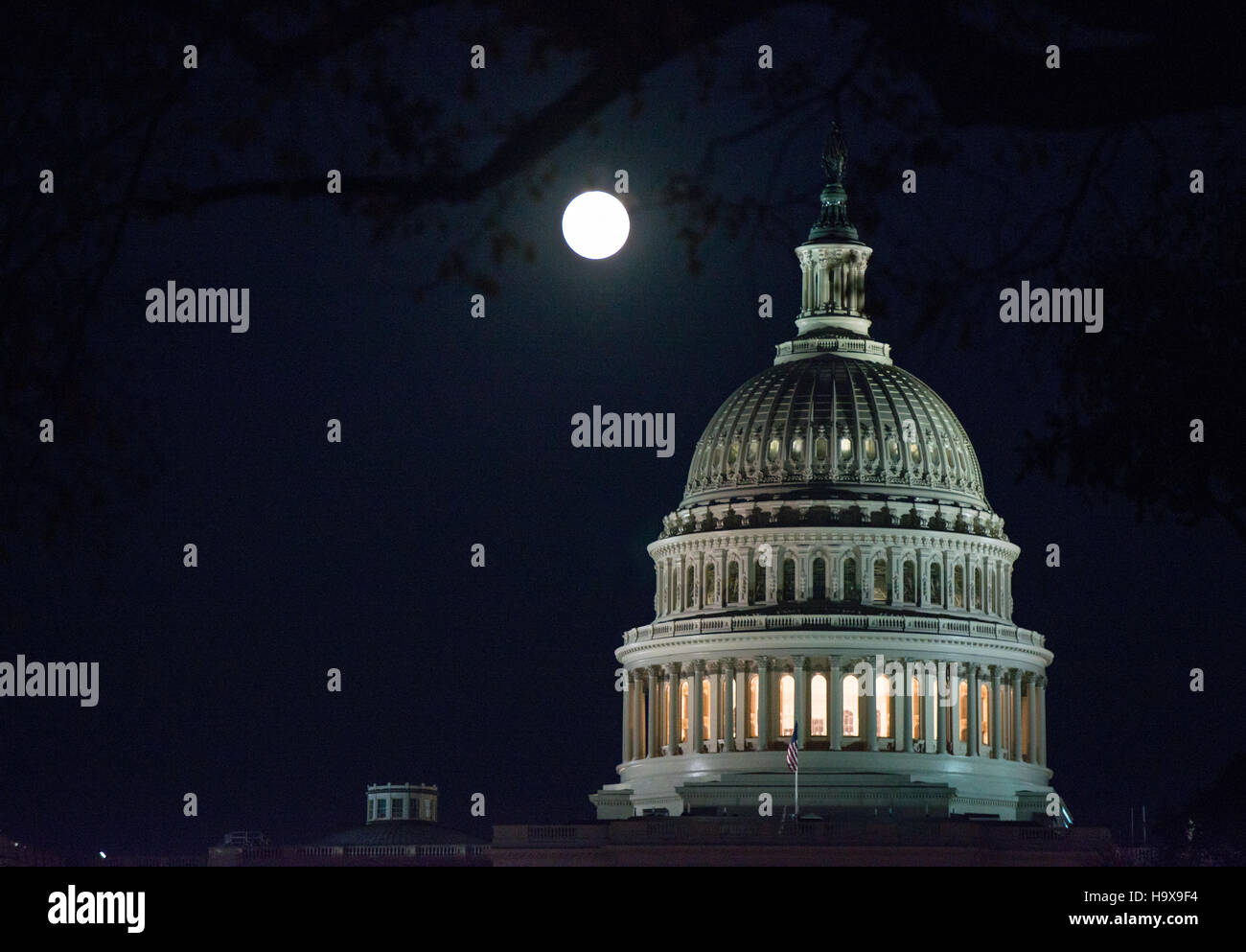 A full moon rises over the U.S. Capitol building November 13, 2016 in Washington, DC. The moon appears 30 percent - Stock Image