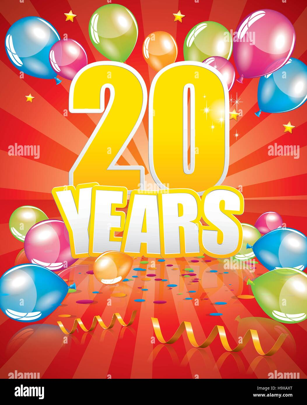 20 years birthday card full vector elements - Stock Vector