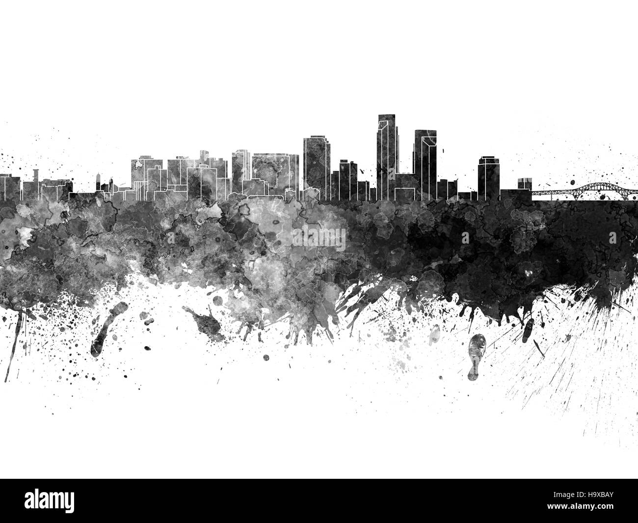 Corpus Christi skyline in black watercolor on white background - Stock Image