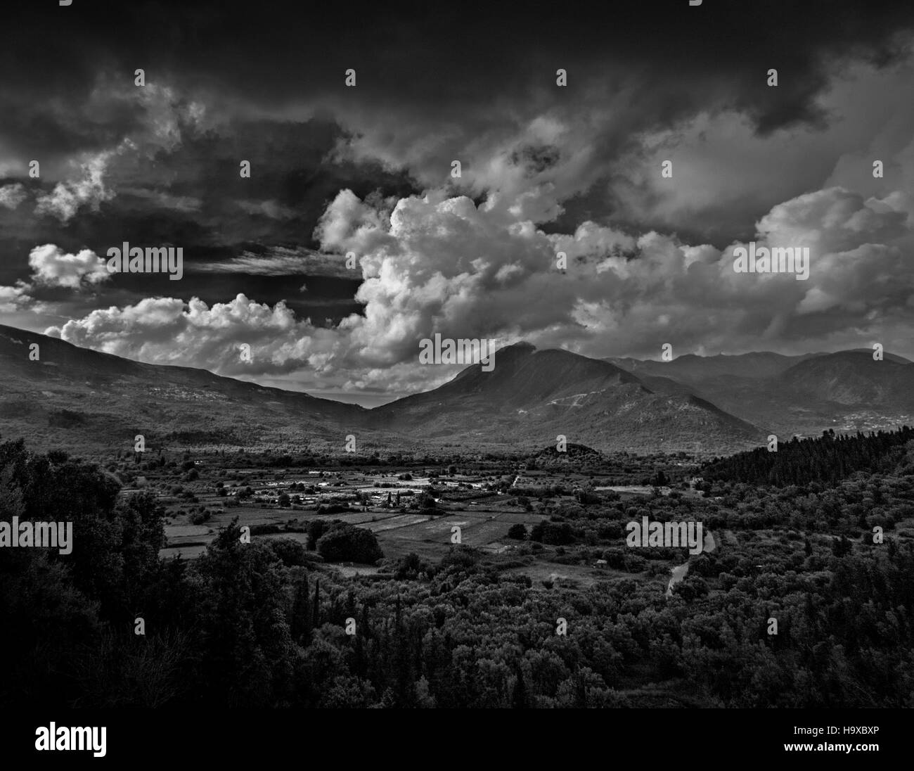 A black and white landscape - Stock Image
