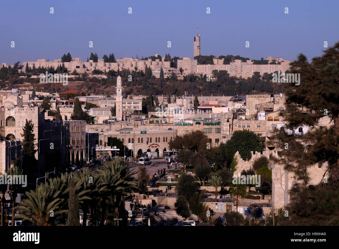 View of The Hebrew University on Mount Scopus across Sultan Suleiman street outside the old city walls in East Jerusalem - Stock Image