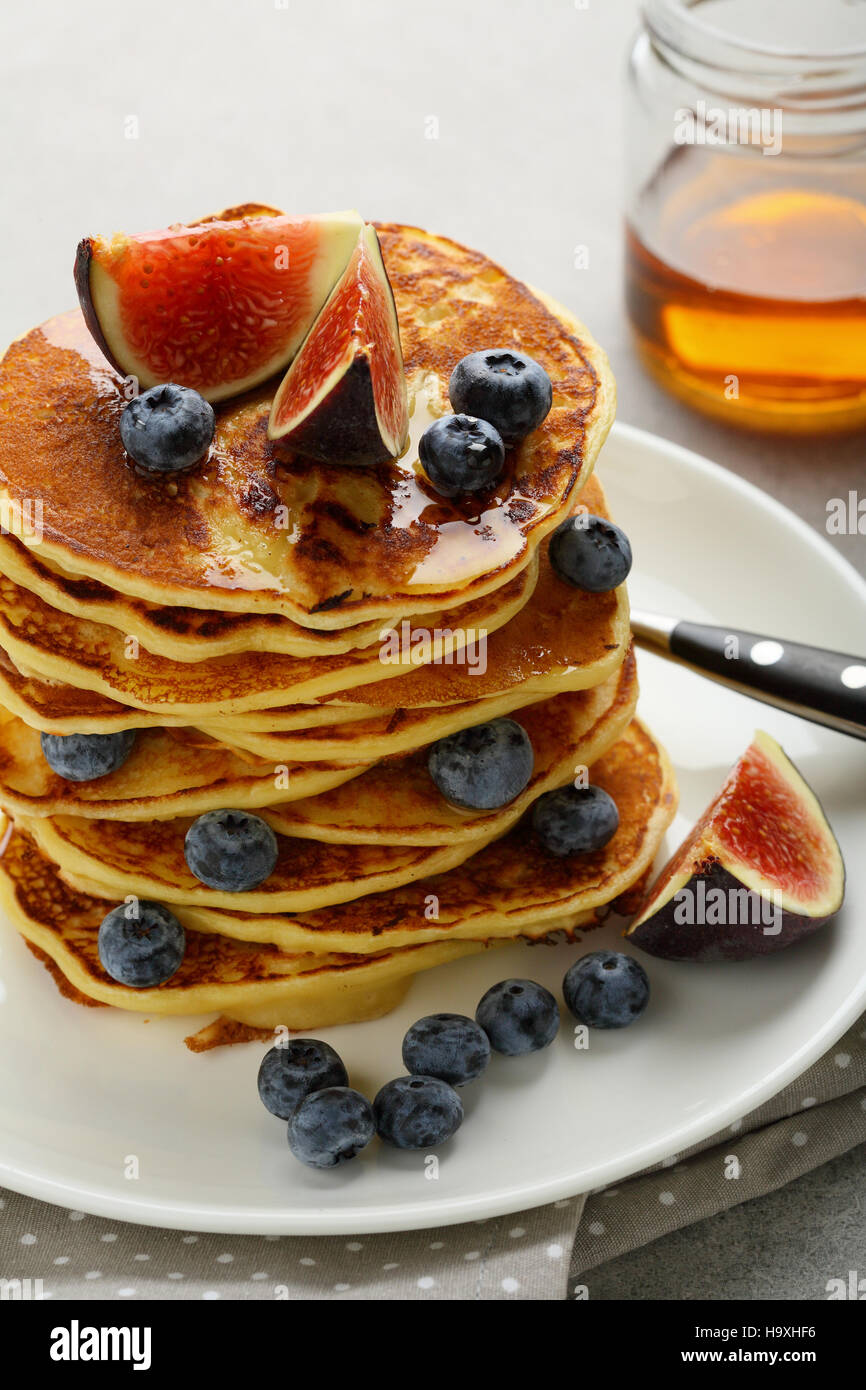 Brunch pancakes with berry, food closeup - Stock Image