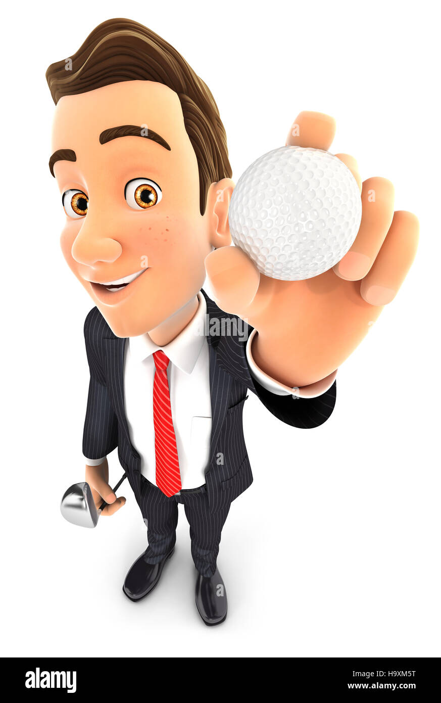 3d businessman holding golf ball, illustration with isolated white background Stock Photo