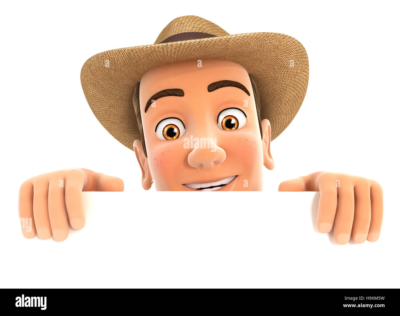 3d farmer hiding behind white wall, illustration with isolated white background Stock Photo