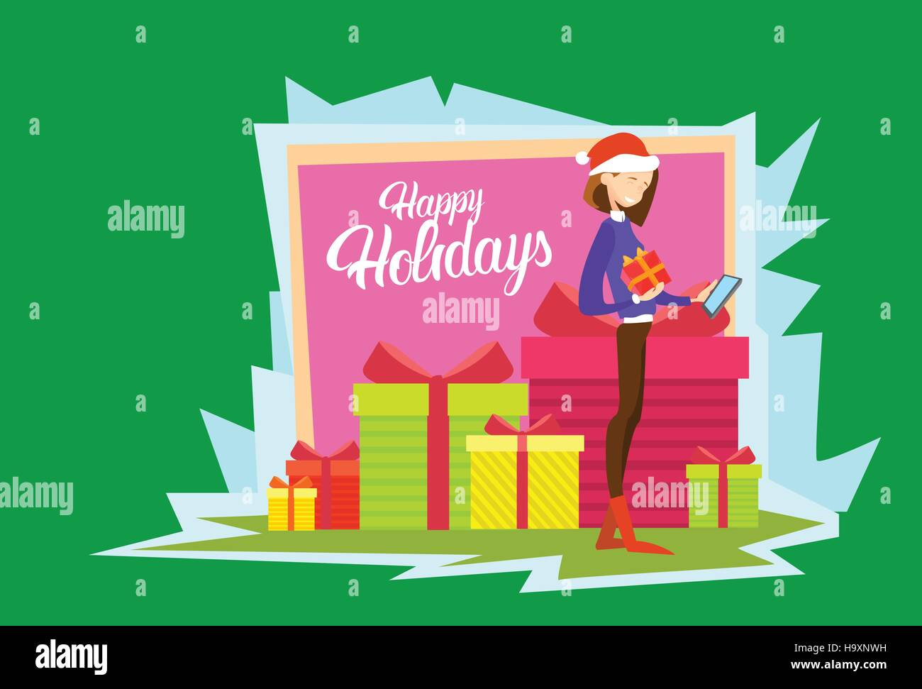 Business woman hold present box messaging online cell phone merry business woman hold present box messaging online cell phone merry christmas and happy new year reheart Images