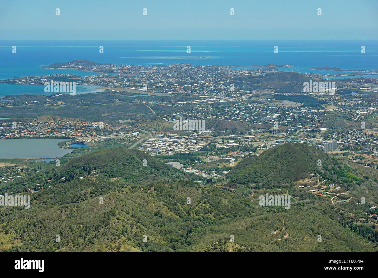 Aerial view of the city of Noumea on the southwest coast of New Caledonia island, south Pacific ocean - Stock Image