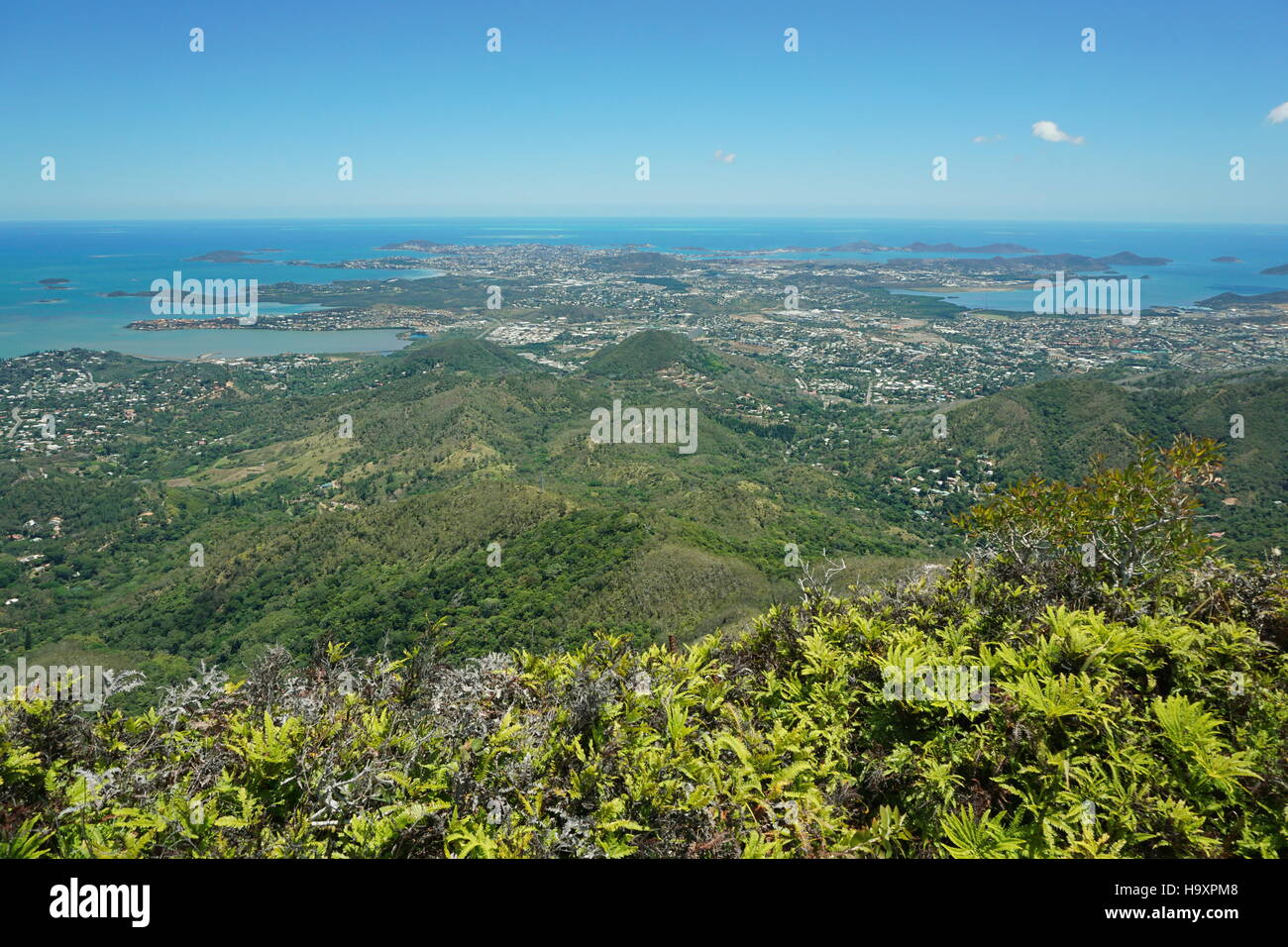 Viewpoint to the coastal city of Noumea from the peak Malaoui, New Caledonia, south Pacific - Stock Image