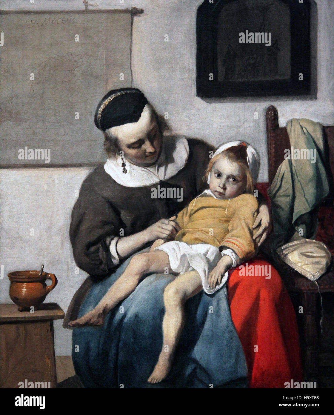 The sick child 1663 by Gabriel Metsu 1629-1667 the plague in amsterdam at that time - Stock Image