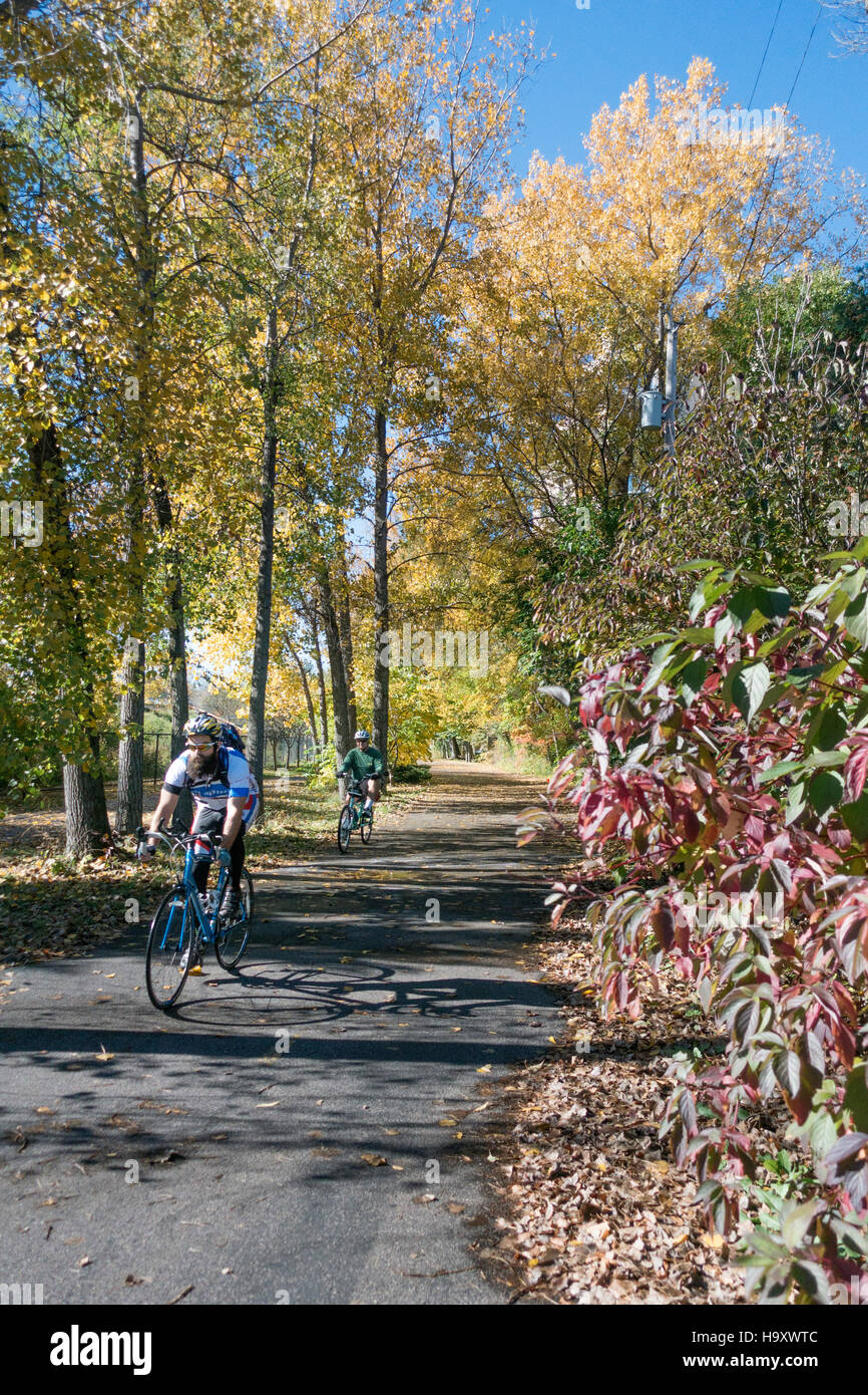 Bicyclists on an Autumn ride along the Cedar Lake Regional Trail. Minneapolis Minnesota MN USA - Stock Image
