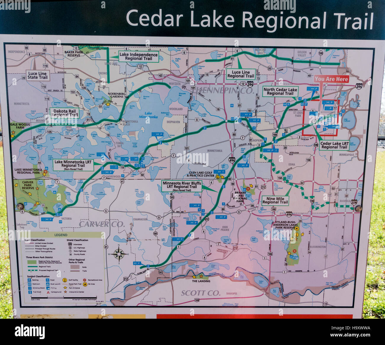 Map posted on board along the Cedar Lake Regional Trail. Minneapolis ...