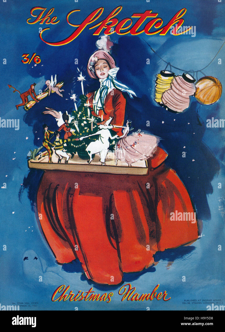 Front cover of The Sketch magazine Christmas Number, 15th November 1951, illustrated by Francis Marshall - Stock Image