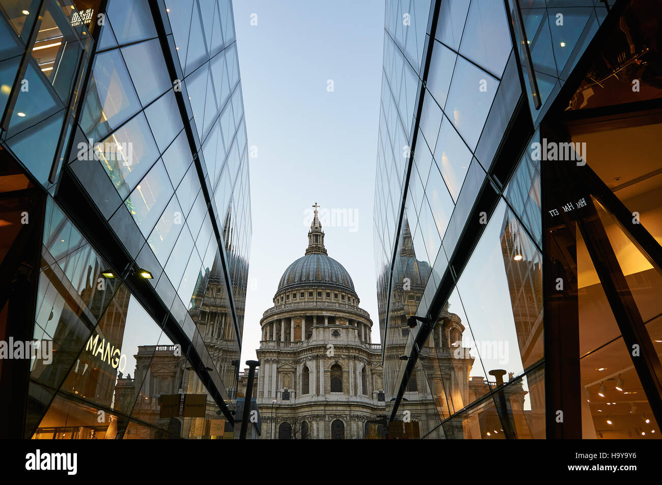 St Pauls Cathedral viewed from One New Change shopping mall, London UK - Stock Image
