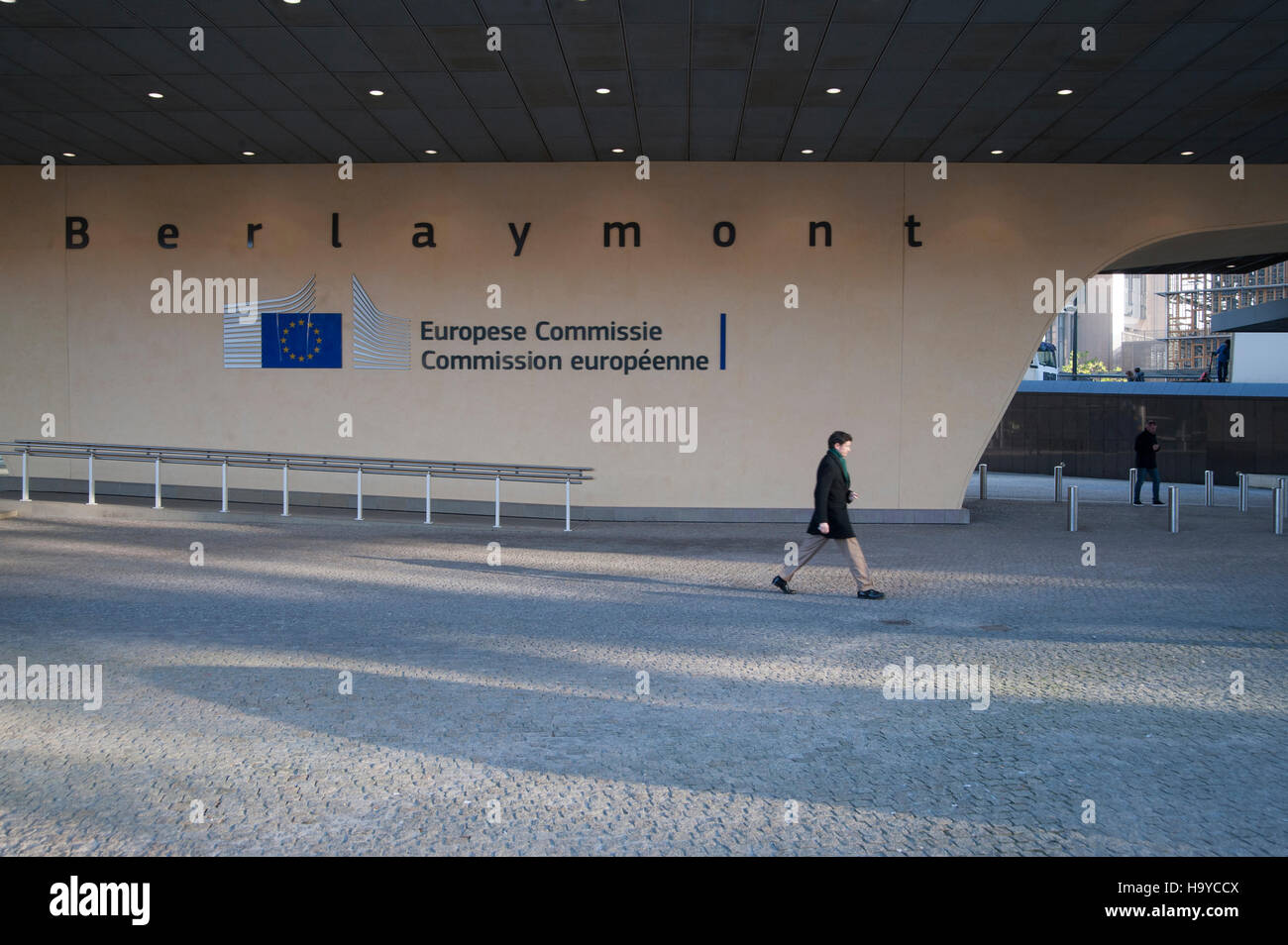 View of the the Berlaymont building, siege of the European Commission in Brussels. Belgium - Stock Image