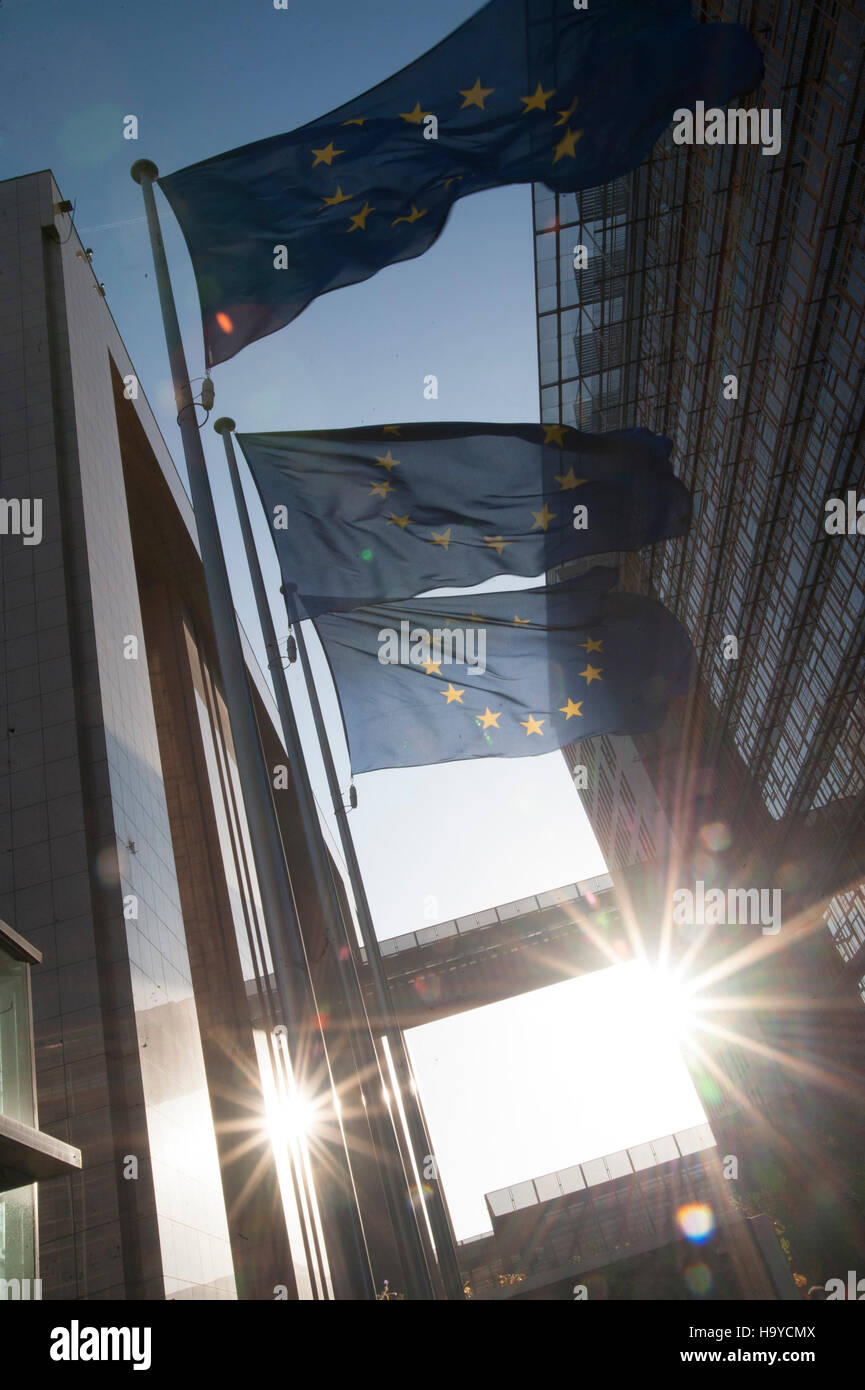 European Union flags with ksun near the European Commission building in Brussels. Belgium - Stock Image