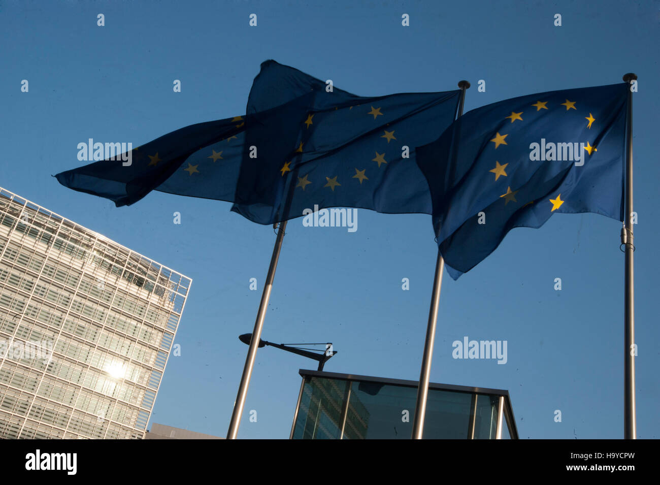European Union Flags next to the European Commission in Brussels, Belgium. - Stock Image