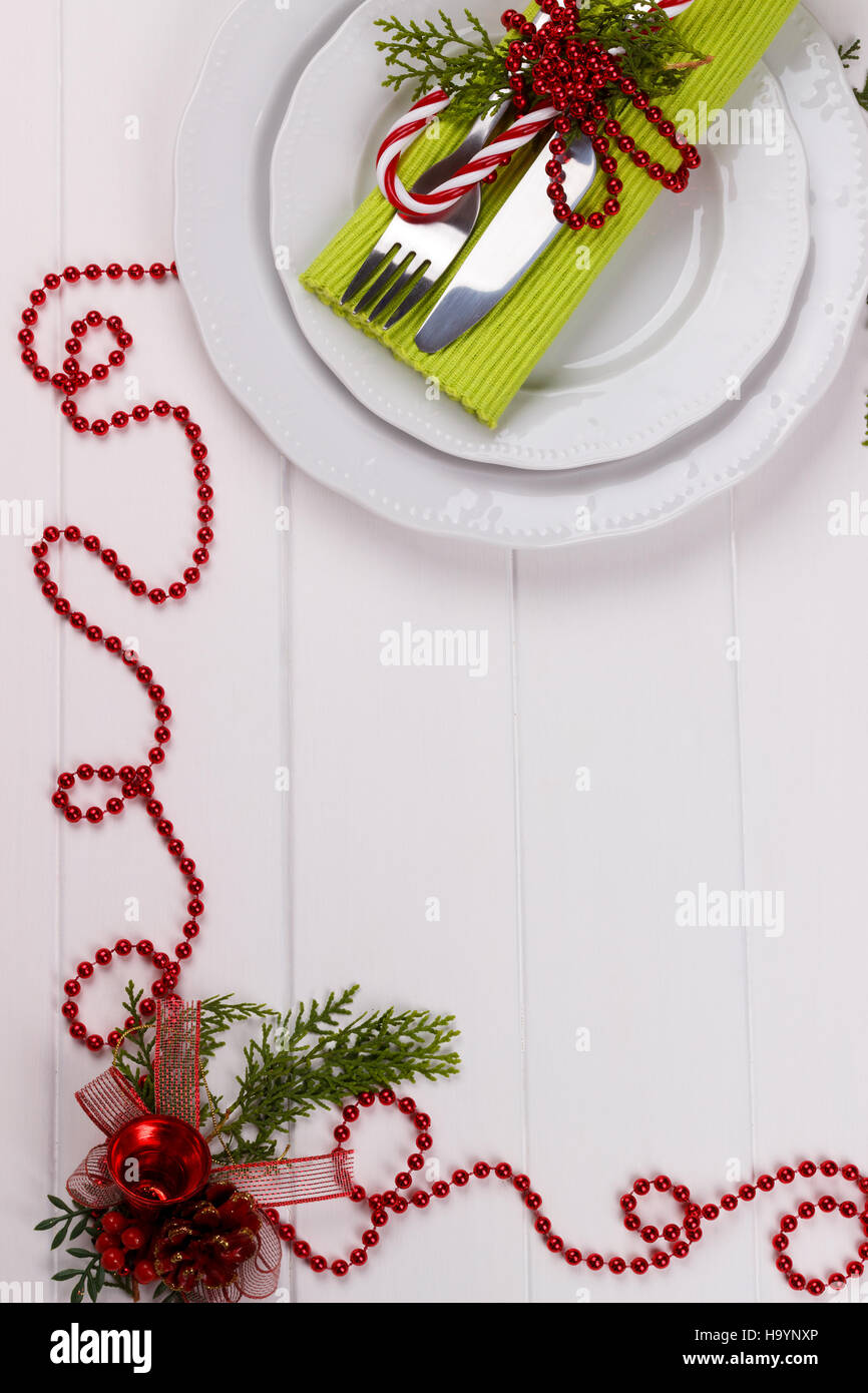 Christmas Table Setting On White Wooden Tableristmas Card