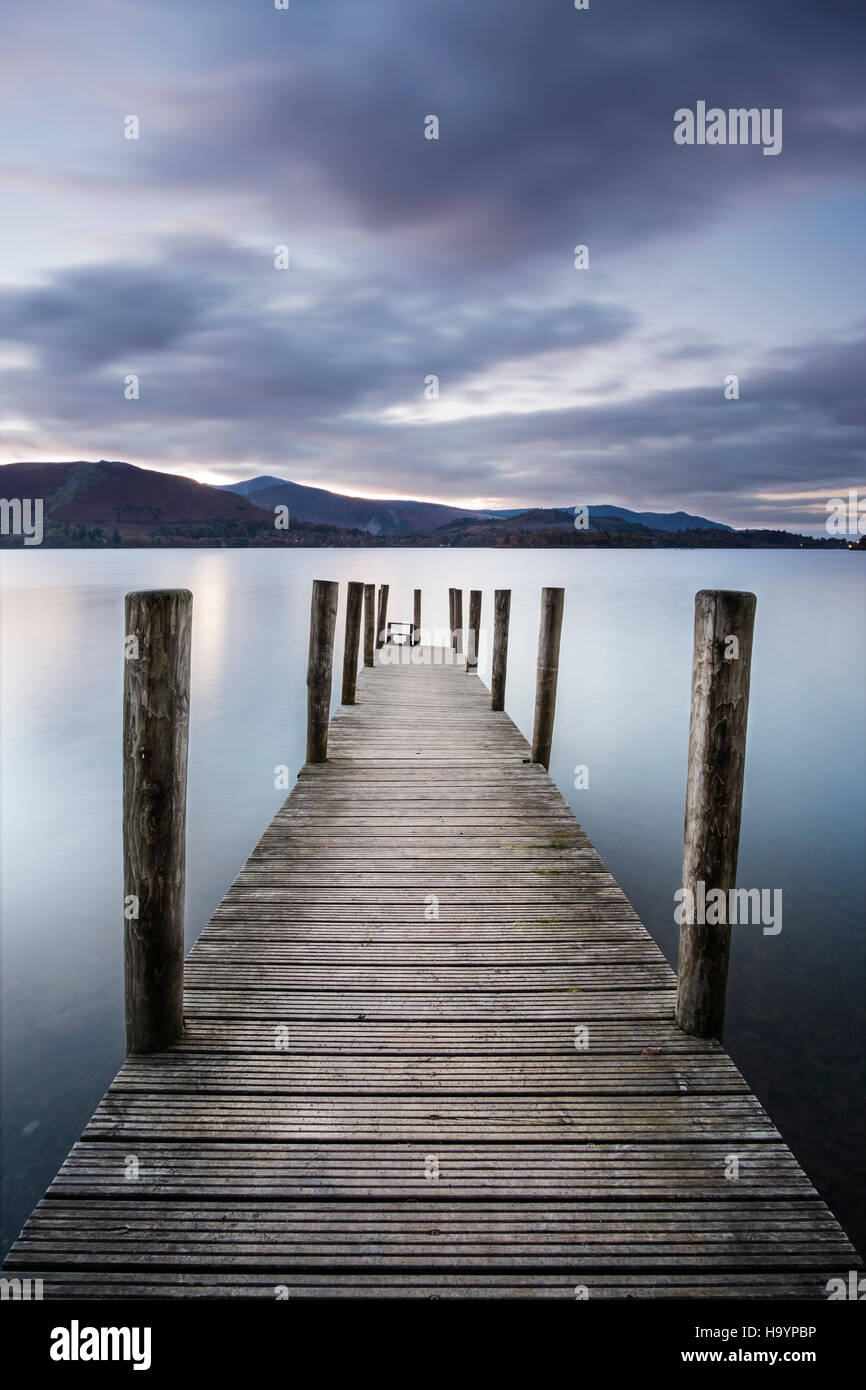 Long exposure after sunset at Ashness Jetty on the south end of Derwent Water in the Lake District, Cumbria - Stock Image