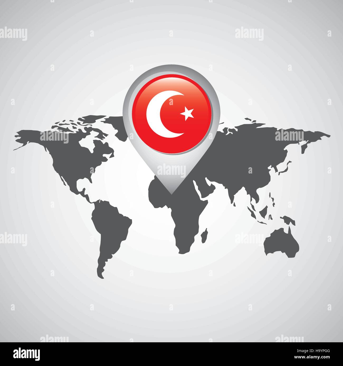 world map with pointer flag turkey vector illustration eps 10 Stock ...
