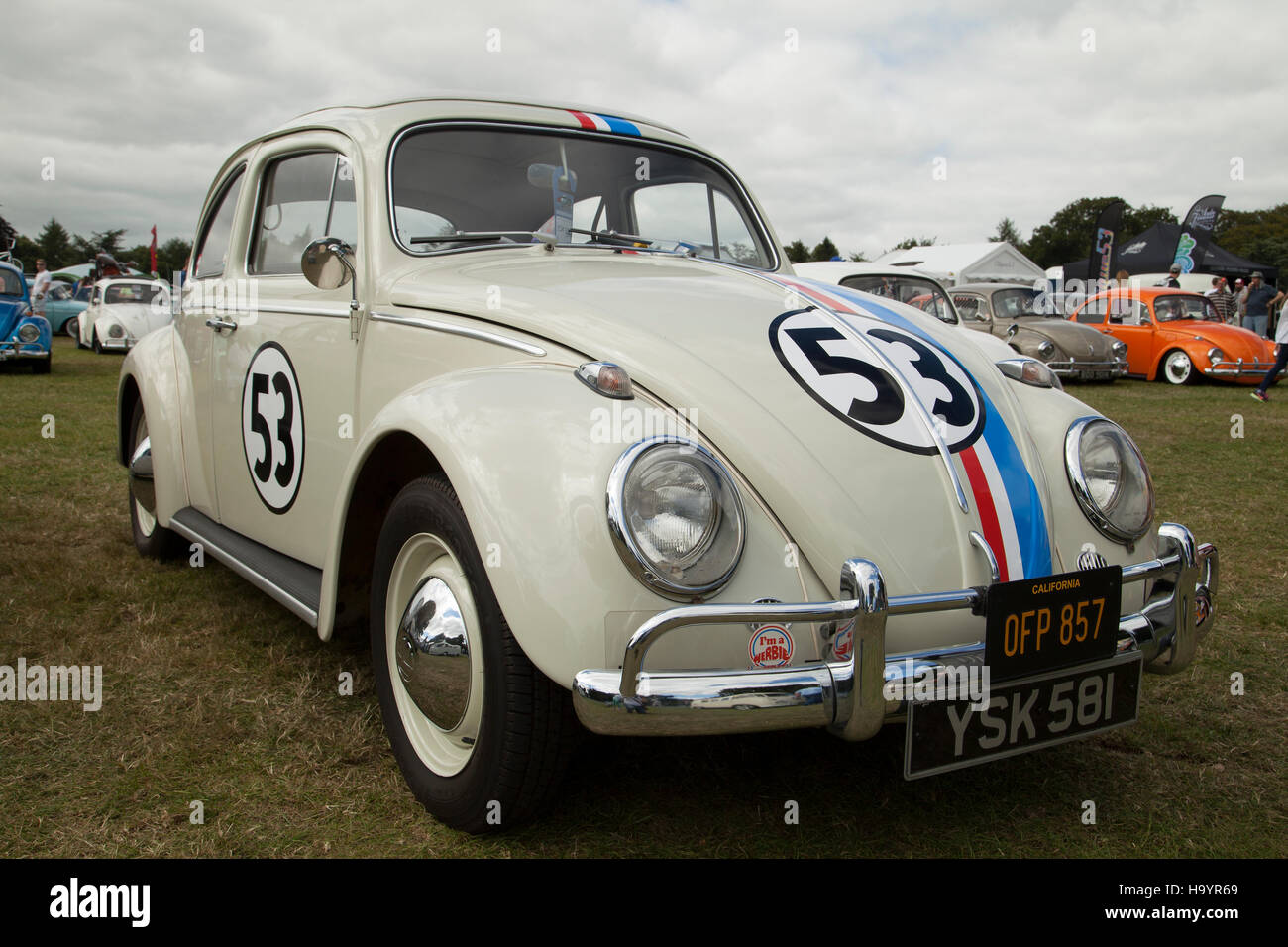 Herbie VW Beetle Car at Harewood House VW festival 2016 - Stock Image