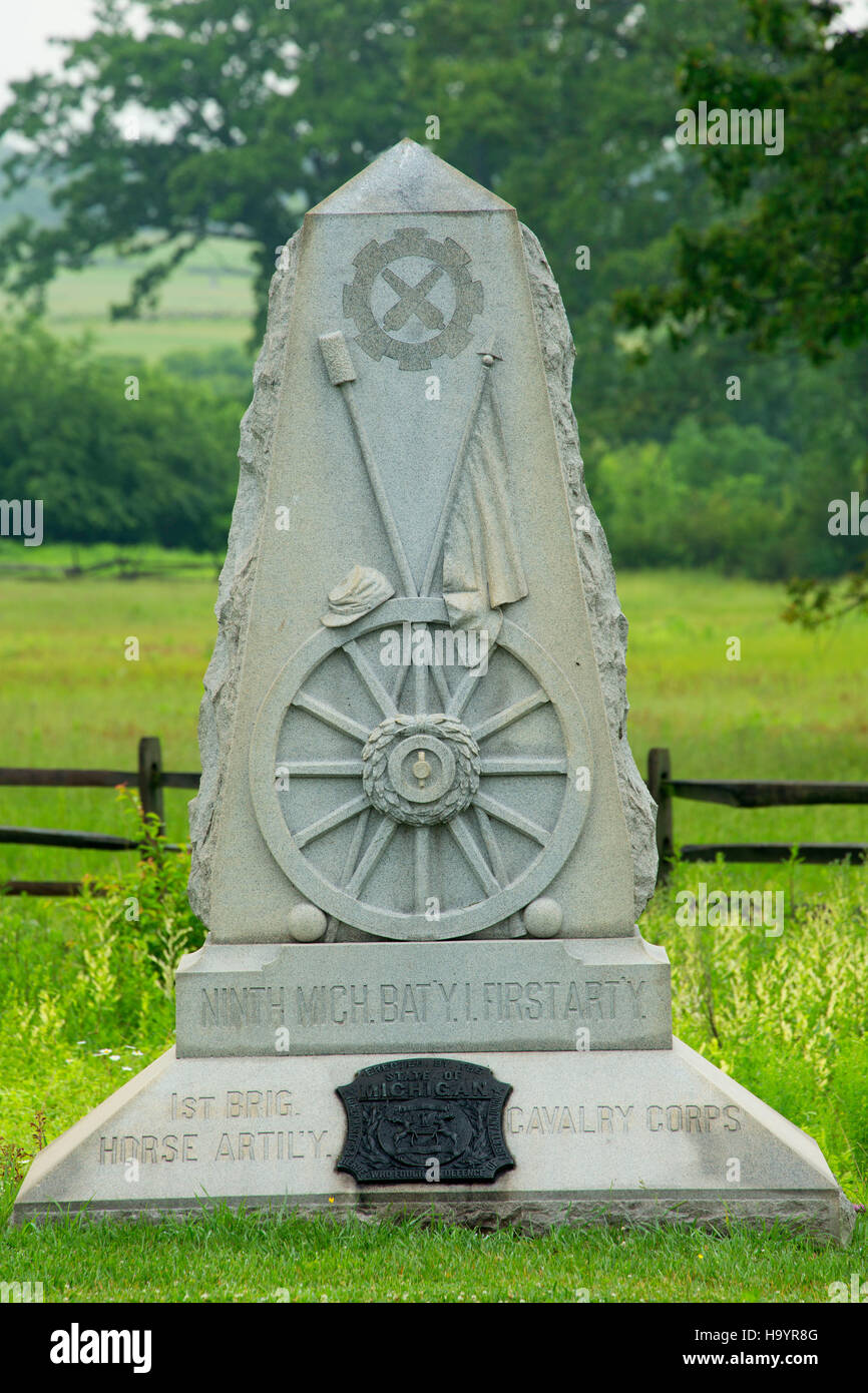 9th Michigan Battery monument, Gettysburg National Military Park, Pennsylvania - Stock Image
