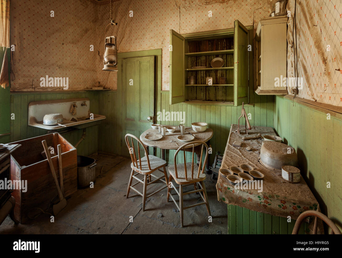 Tom Miller House Bodie Ghost Town.  a ghost town visitor attraction in California.  Bodie is maintained in a state - Stock Image