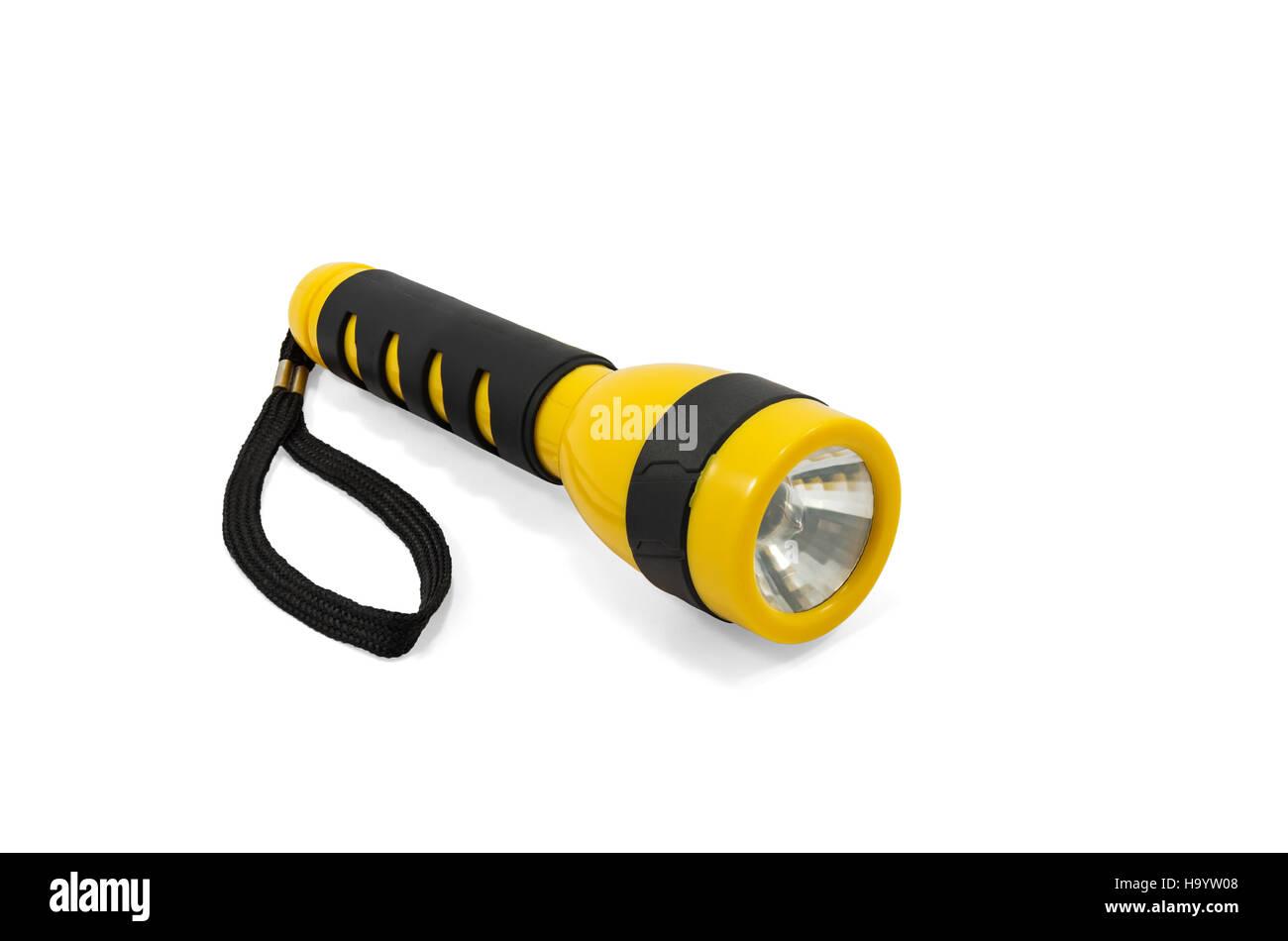 Yellow and black pocket electric flashlight isolated on white background - Stock Image