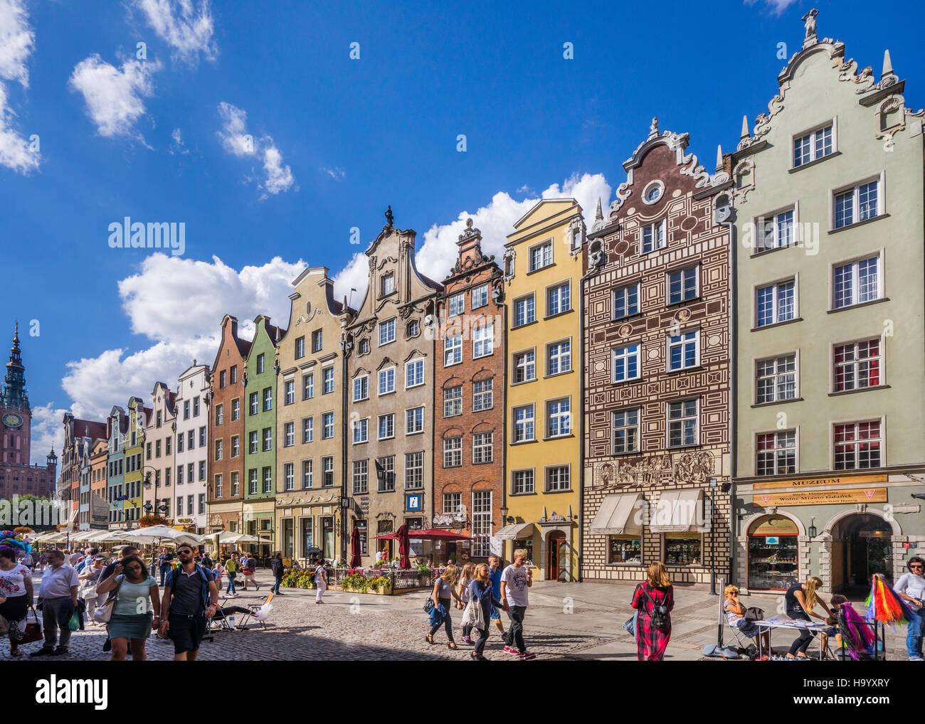 Poland, Pomerania, Gdansk (Danzig), patrician houses at Long Market (Langer Markt/Dlugi Targ) - Stock Image