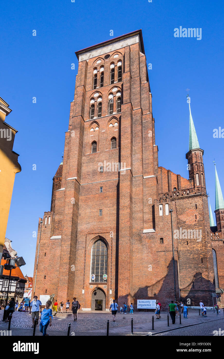 Poland, Pomerania, Gdansk (Danzig), view of the massive tower of St. Mary's Church from Ulica Pivna (Jopengasse/Beer - Stock Image