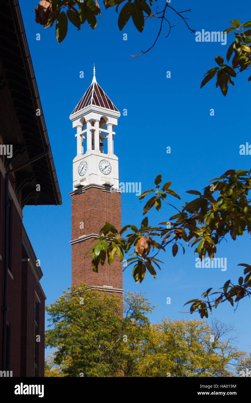Purdue Bell Tower, Purdue University campus, West Lafayette, Indiana, United States - Stock Image