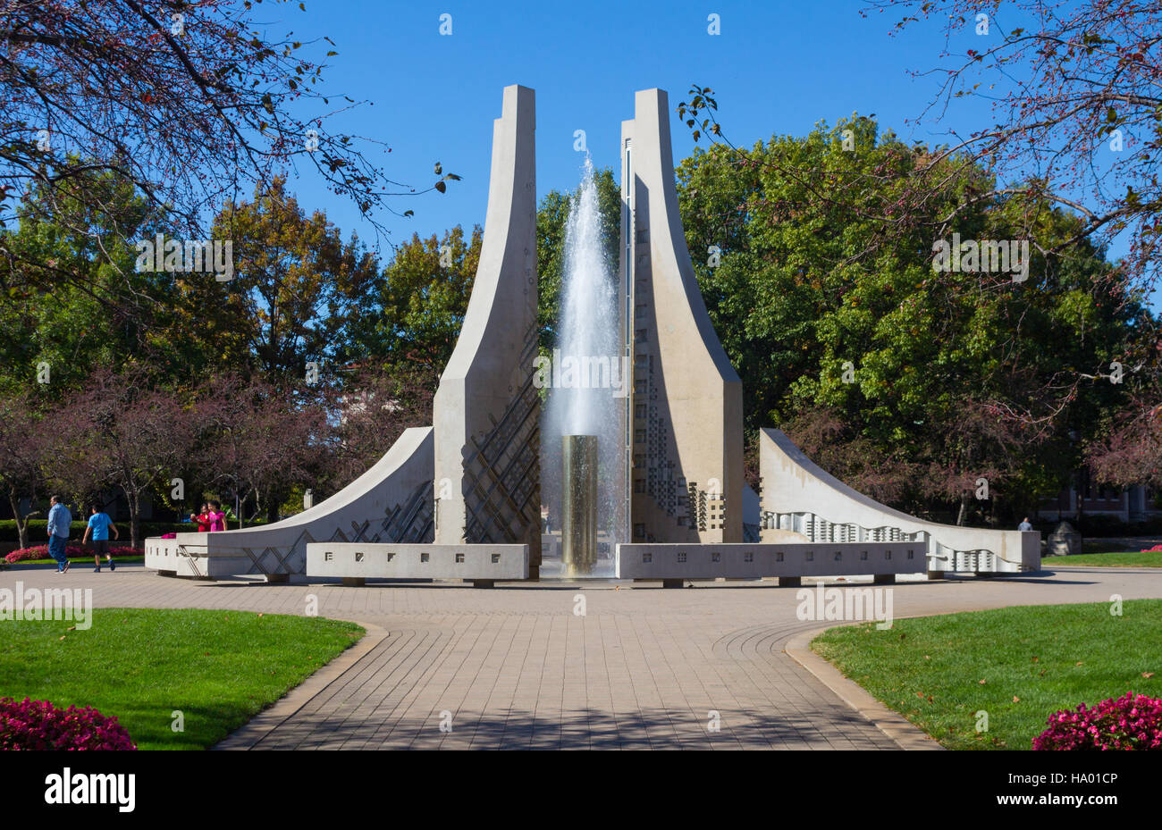 Purdue Mall Fountain / Purdue Engineering Fountain, Purdue University campus, West Lafayette, Indiana, United States - Stock Image