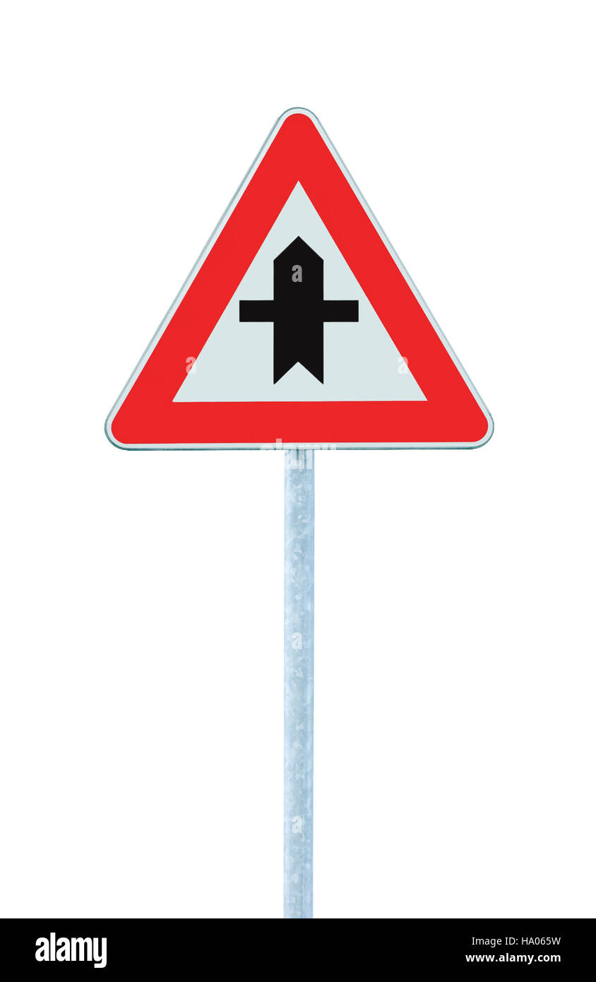 Crossroads warning main road sign pole post, isolated roadside traffic signage - Stock Image