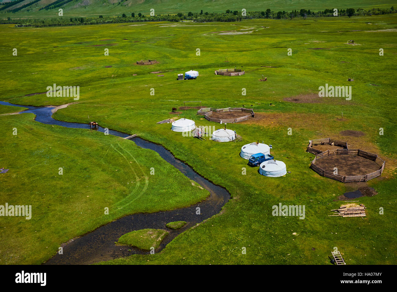 Mongolia, Arkhangai province, yurt nomad camp in the steppe - Stock Image