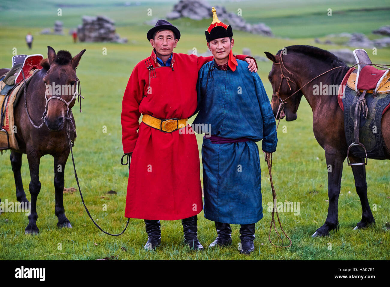 Mongolia, Arkhangai province, Mongolian horserider in the steppe - Stock Image