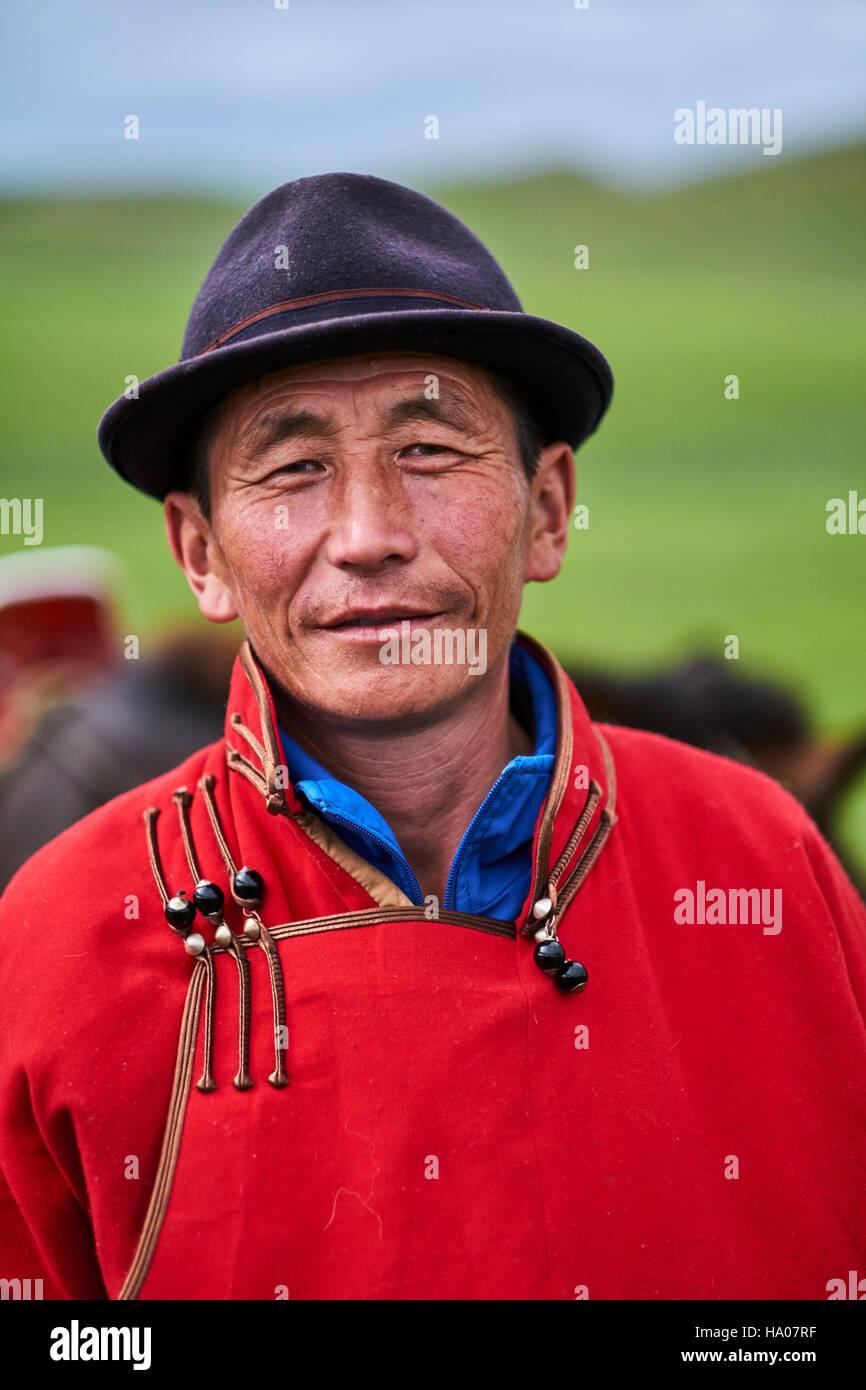 Mongolia, Arkhangai province, Mongolian nomad man - Stock Image