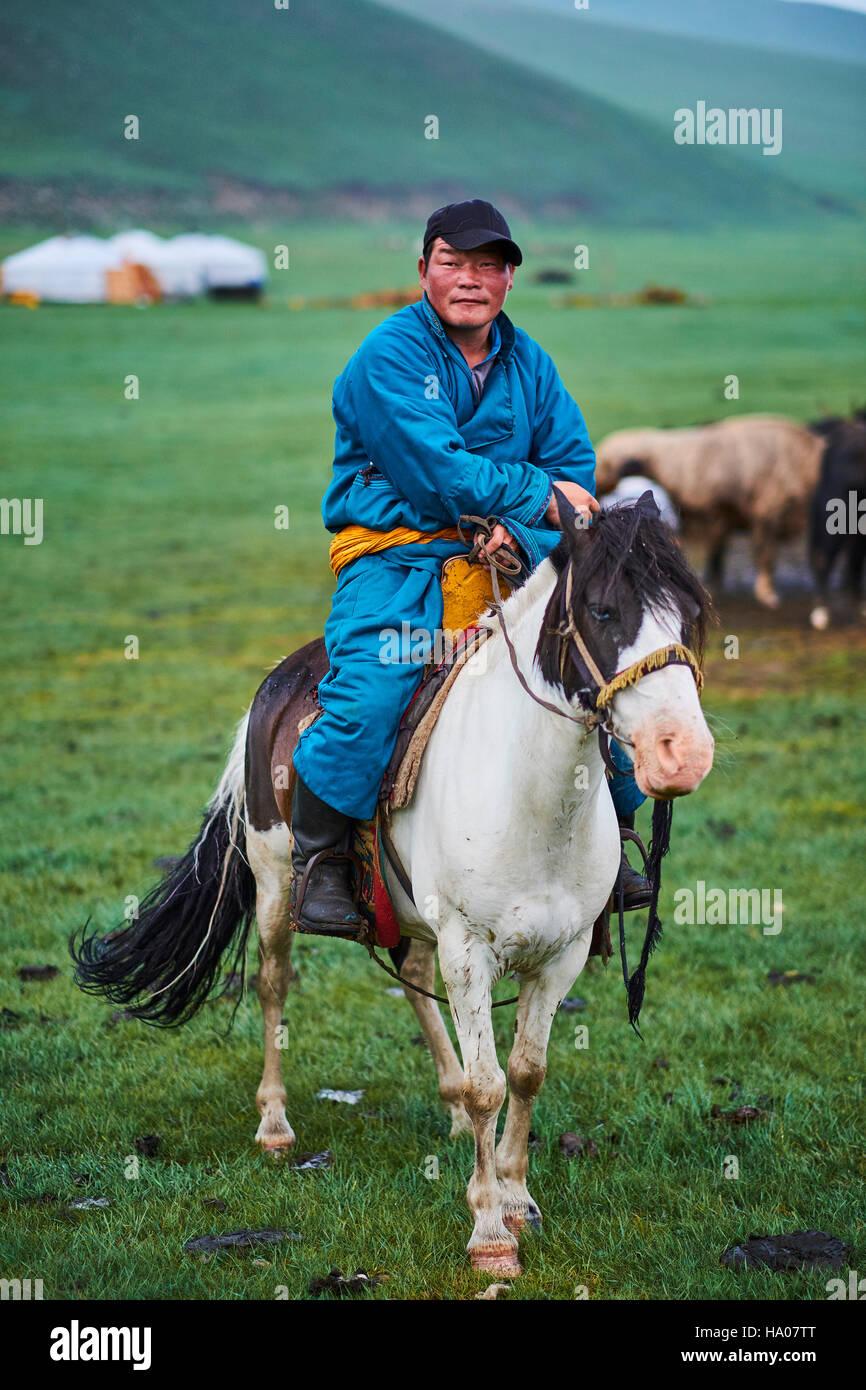 Mongolia, Ovorkhangai province, Orkhon valley, Nomad camp, Mongolian horserider - Stock Image