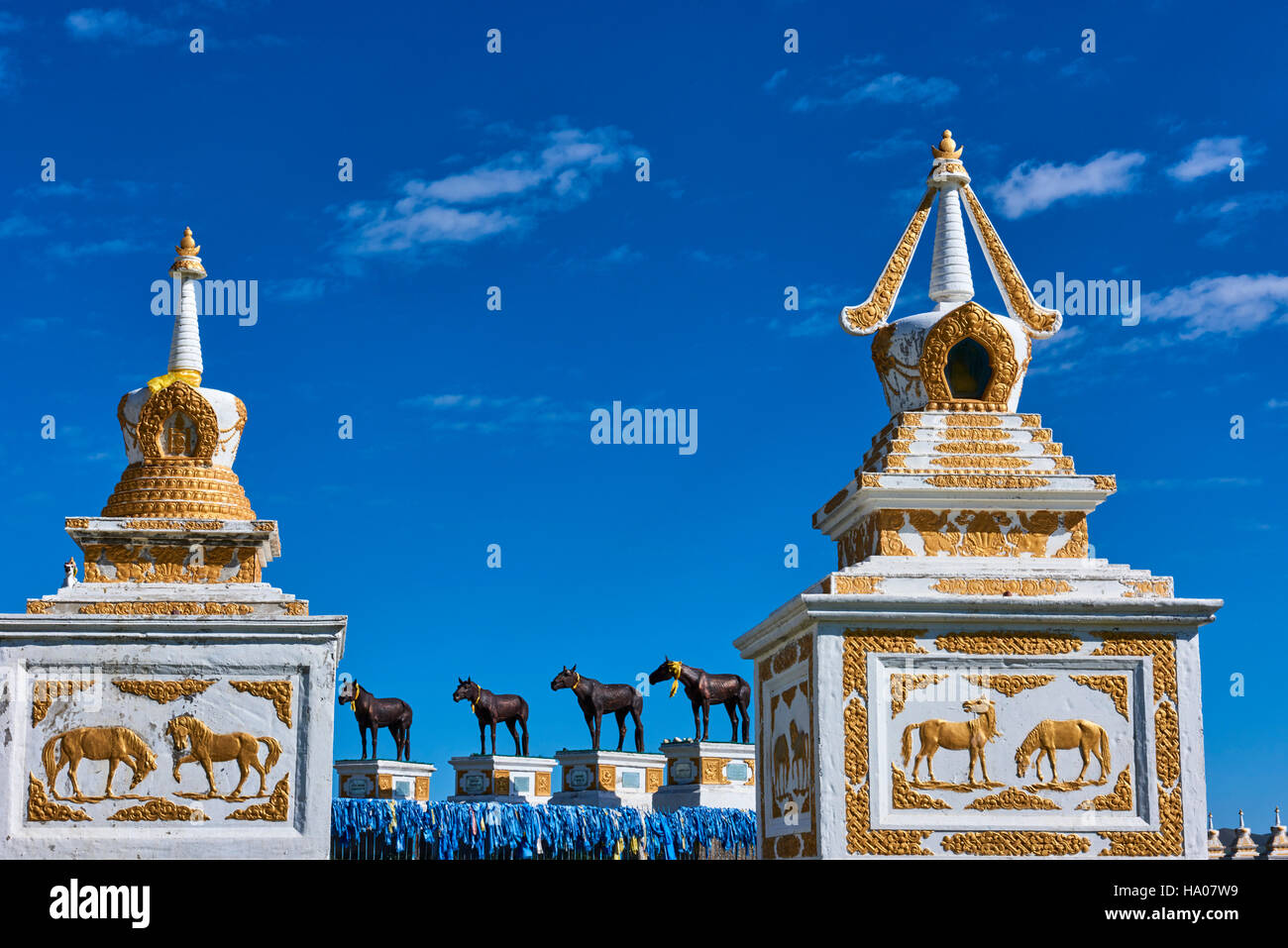 Mongolia, Bayankhongor province, monument in honour of Mongolian horses - Stock Image
