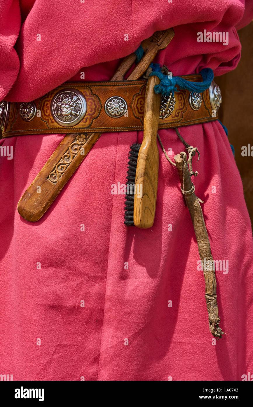Mongolia, Bayankhongor province, traditional belt - Stock Image