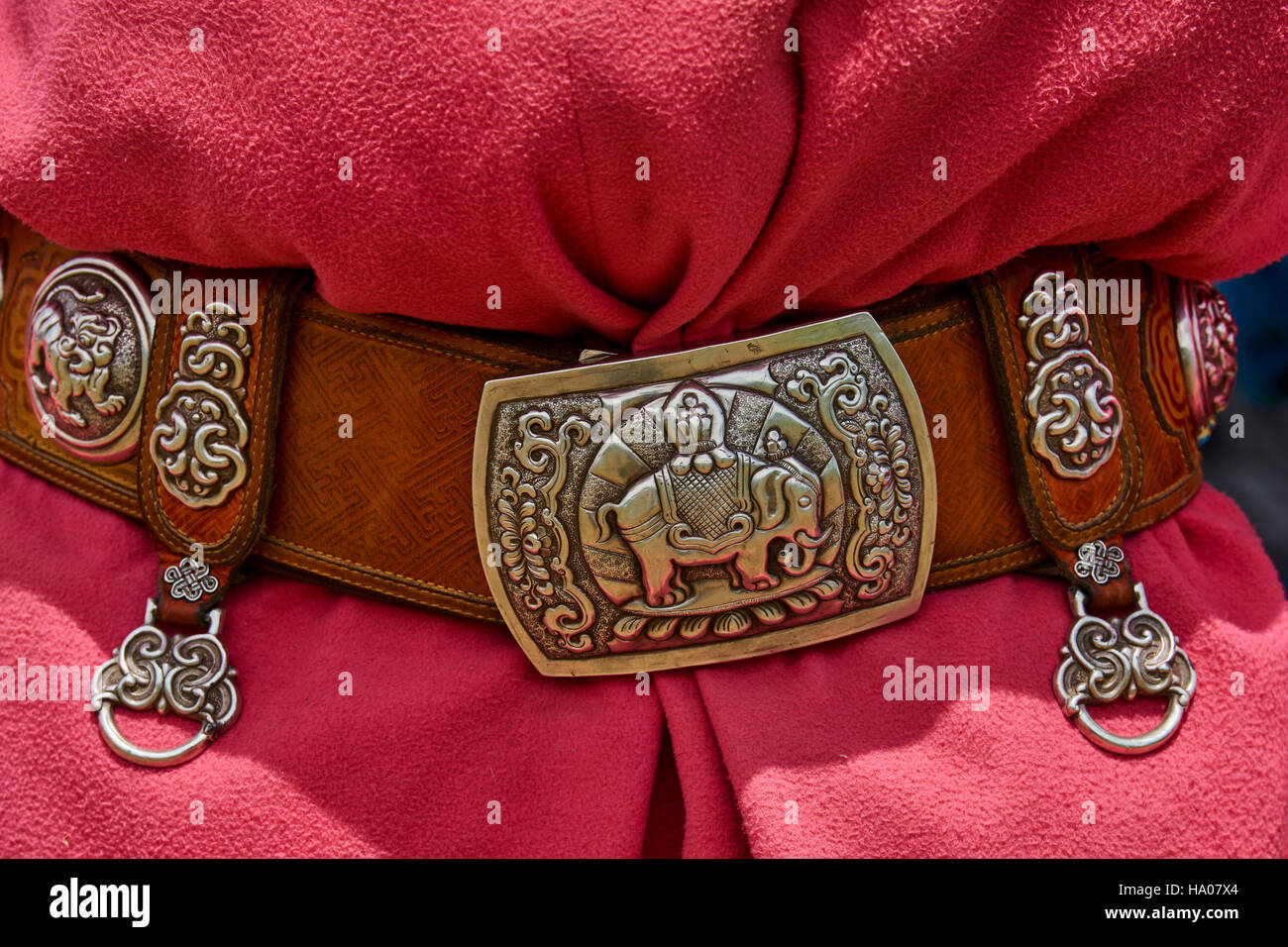 Mongolia, Bayankhongor province, traditional belt in silver - Stock Image