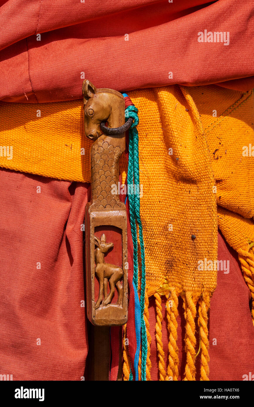 Mongolia, Bayankhongor province, traditional belt, a brush for the horse - Stock Image