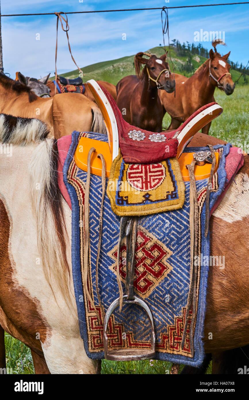 Mongolia, Bayankhongor province, a saddle decorated - Stock Image
