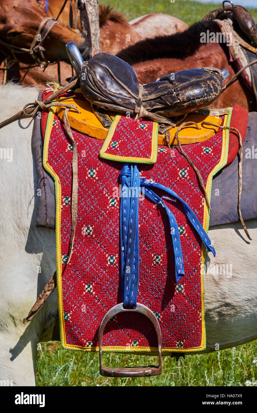 Mongolia, Bayankhongor province, a saddle decorated Stock Photo